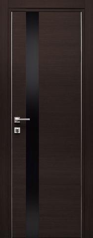Дверь Дубрава Сибирь Титан 3, стекло чёрное лакобель, цвет орех тёмный поперечный, остекленная