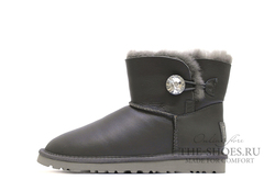 UGG MINI BAILEY BUTTON BLING METALLIC GREY