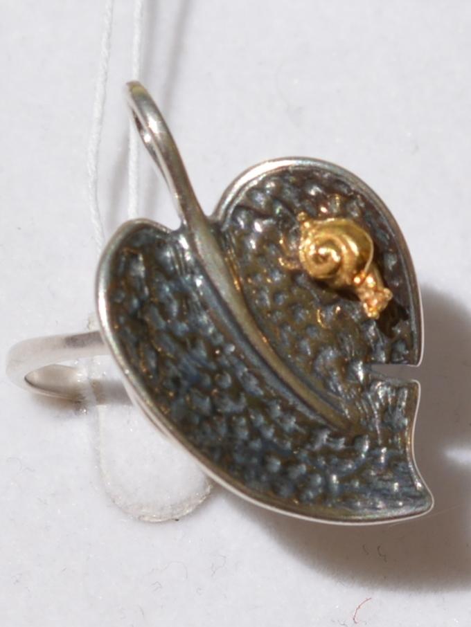 Листок (кольцо из серебра)