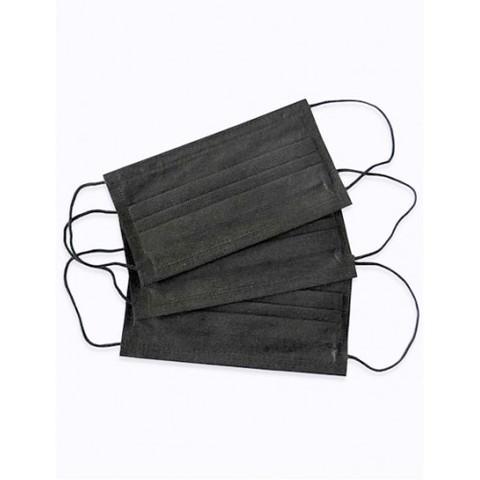 Маска 3х-слойная на резинках (черный, 100 шт./упк.)