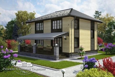 """Двухэтажный дом """"Марсель"""" 147 кв.м. из СИП панелей с открытой террасой"""