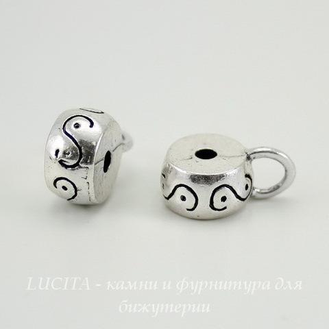 """Бейл """"Волна"""" (цвет - серебро) 16х11х6 мм"""