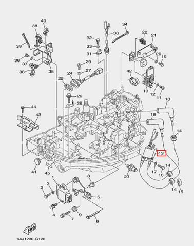 Катушка зажигания высоковольтная для лодочного мотора F20 Sea-PRO (12-13)