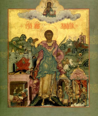 Икона святого мученика Маманта Кесарийского (Каппадокийского) на дереве на левкасе мастерская Иконный Дом