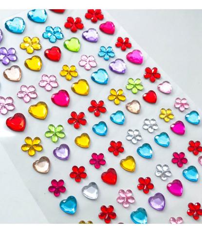 Стразы самоклеющиеся сердечки+цветочки разного размера 96 шт разноцветные
