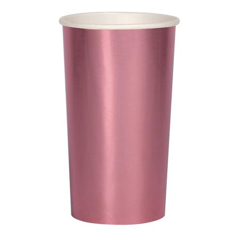 Большие фольгированные розовые стаканы для коктейлей