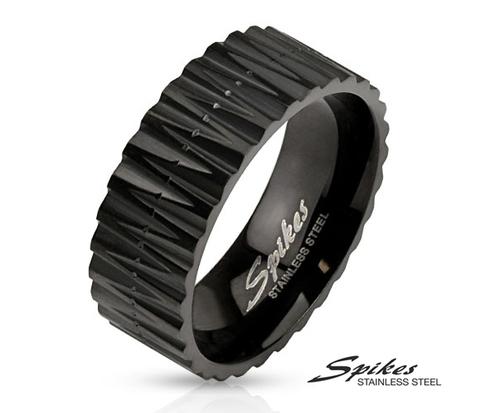 Стальное мужское кольцо черного цвета, «Spikes»