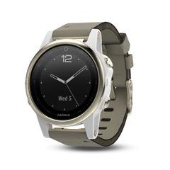 Умные женские спортивные часы Garmin Fenix 5S Sapphire - шампань с серым ремешком 010-01685-13