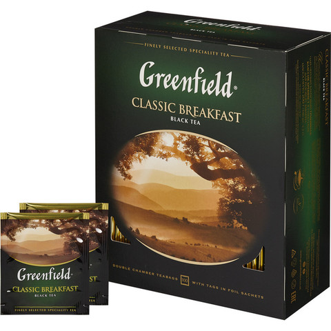 Чай Greenfield Classic Breakfast черный,100пак/уп