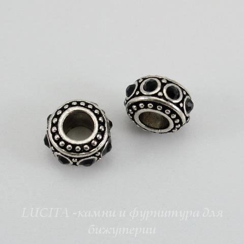Бусина металлическая - рондель с черными стразами (цвет - античное серебро) 11х6 мм