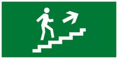 Эвакуационный знак - по лестнице вверх направо