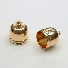 Концевик для шнура 10,5 мм, 14х12 мм (цвет - золото), 2 штуки