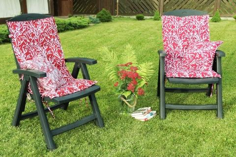 Подушка на стул со спинкой Кораллы красный уличная коллекция