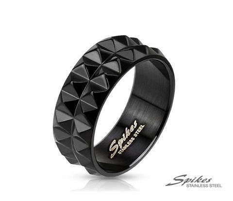 Мужское кольцо из стали черного цвета с шипами, «Spikes»