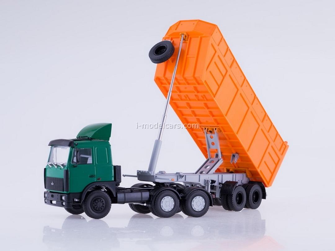 MAZ-6422 with tipper semitrailer MAZ-9506-30 green-orange 1:43 AutoHistory