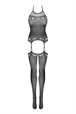 Бодистокинг сетка черного цвета с открытыми плечами