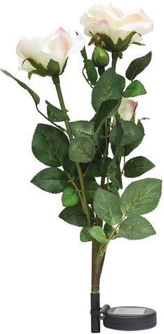 Светильник садово-парковый на солнечной батарее «Ветка розы», белый, 3 LED (белый), H 80cм , PL308 (Feron)