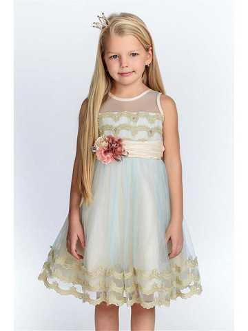 Нежное платье голубого цвета (арт.WB1586)