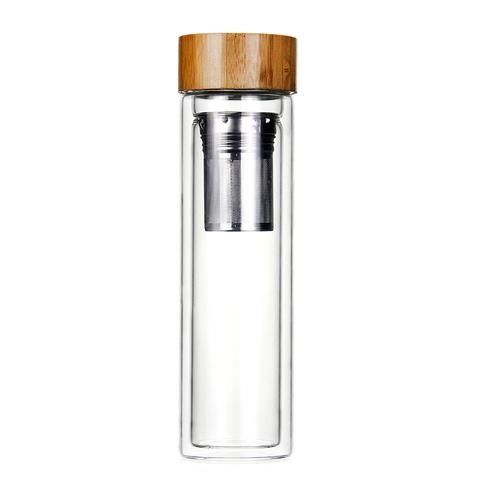 Чайная бутылка с двойным стеклом и ситечком Бамбук 450 мл.