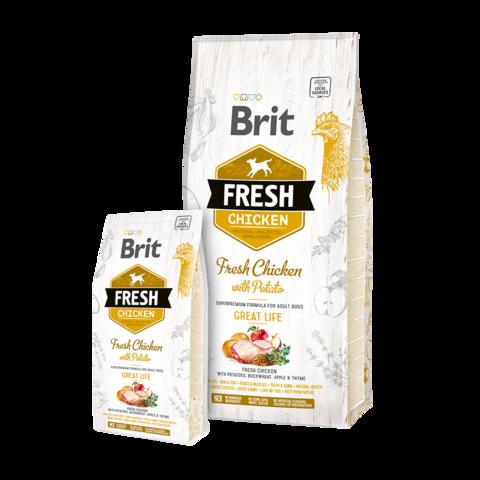 Brit Fresh Chicken & Potato Great Life Сухой корм для собак всех пород Курица и картофель