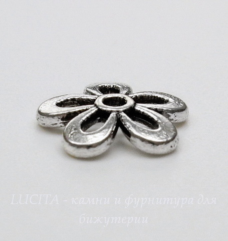 """Шапочка для бусины """"Цветок"""" 12 мм (цвет - античное серебро), 10 штук"""