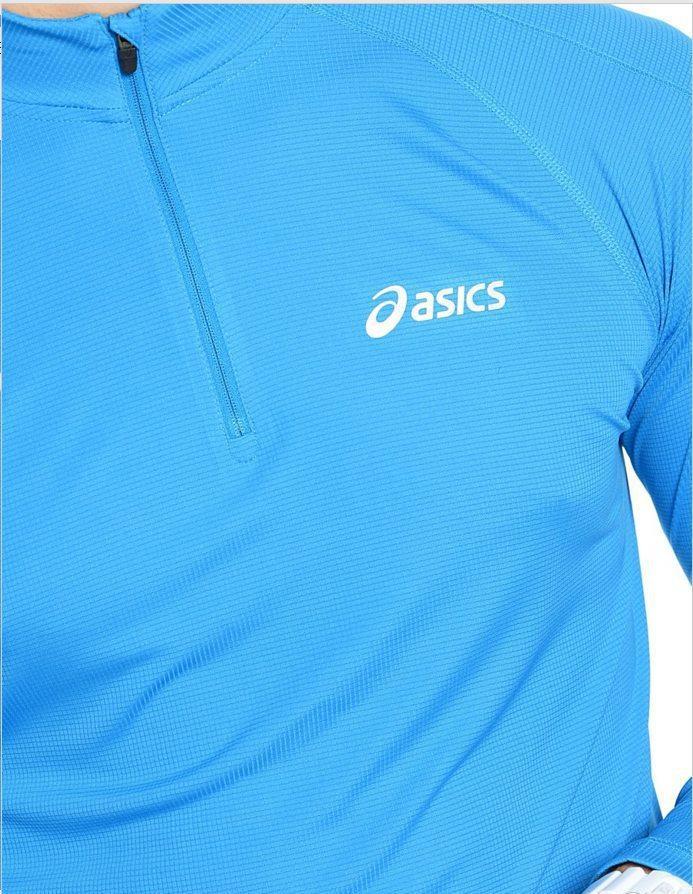 Мужская спортивная беговая рубашка Asics Zip Top (110410 0823) голубая фото