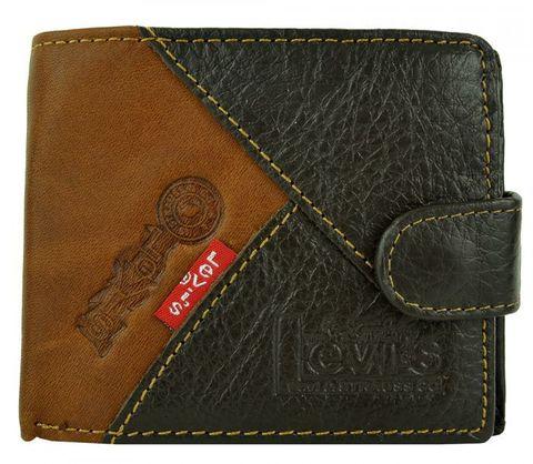 Кошелёк-портмоне коричневый кожаный мужской молодёжный Levi`s 18015