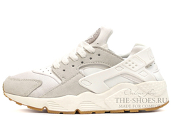 Кроссовки Женские Nike Air Huarache Grey Suede White Begie