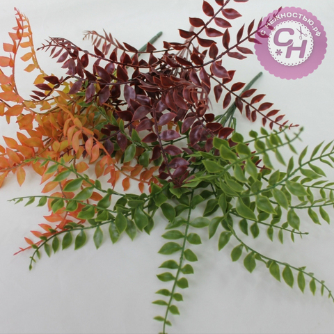 Букет листьев рябины 13 веток, 23 см, силикон.