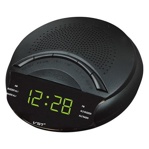 Часы сетевые 903-2 зеленые, FM радио, 220V