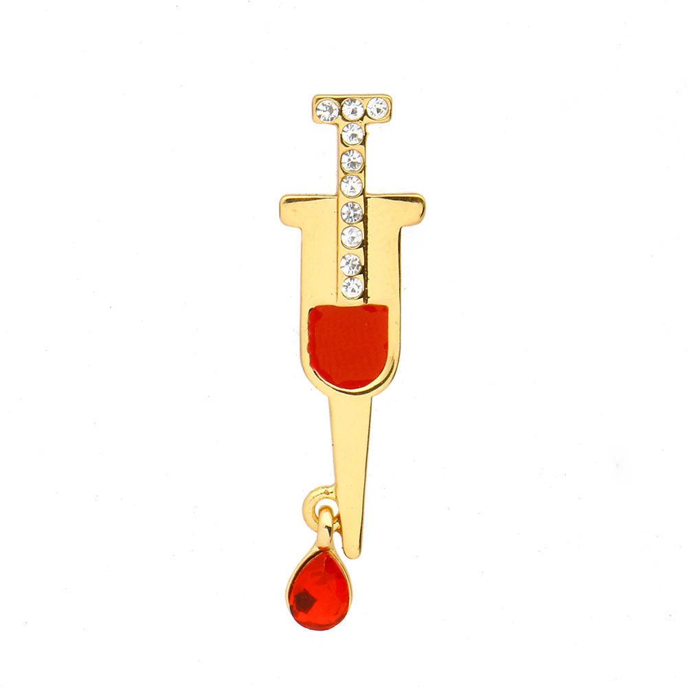 Брошь Шприц с кровью (золотой цвет)