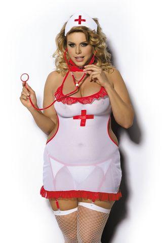 Костюм медсестры Shane (сорочка, пояс+стриги, чепчик)