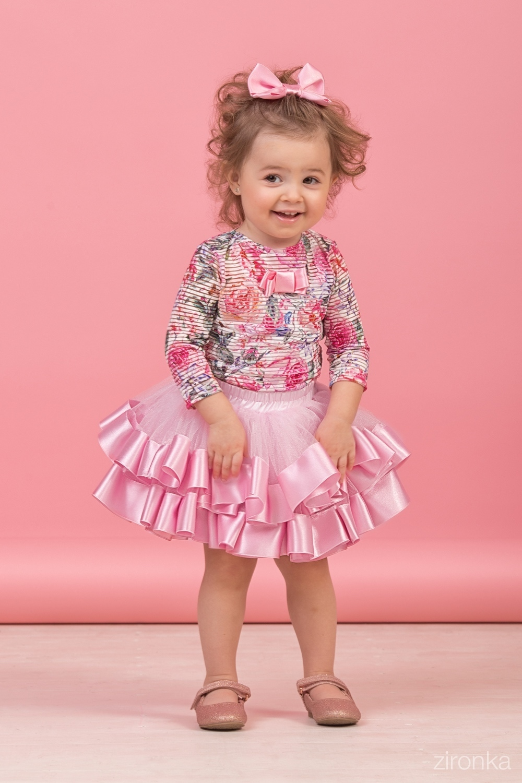Комплект (блузка, майка, юбка) для девочки 64-8004-2