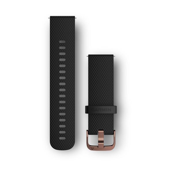 Силиконовый ремешок Garmin черный с золотистой пряжкой