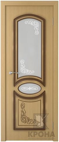 Дверь Крона Муза, стекло матовое с рисунком, цвет дуб, остекленная