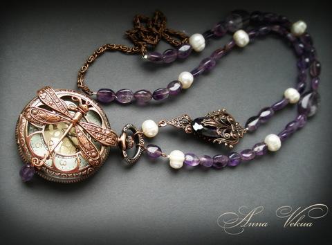 Часы на цепочке карманные с филигранью (цвет - античная медь) 64х46Х14 мм (Часы со стрекозой. Пример)