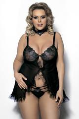 Сорочка большого размера эротическая черного цвета и трусики