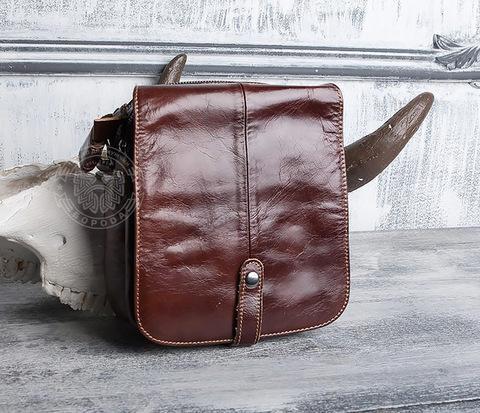 Мужская городская сумка из натуральной кожи с ремнем на плечо