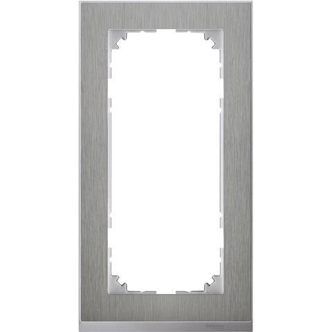 Рамка на 2 поста, без перегородки. Цвет Нержавеющая сталь/Алюминий. Merten. M-Pure Decor System M. MTN4025-3646