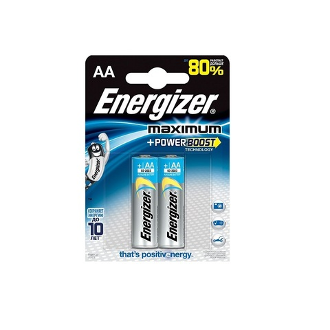 Батарейка Energizer Maximum, тип AA, алкалиновая, 2 шт.
