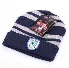 Вязаная шапка Гарри Поттер с эмблемой Гриффиндора синяя