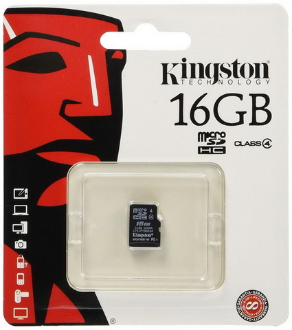 Карта памяти Kingston microSDHC 16GB Class 4 (без адаптера) (SDC4/16GBSP)