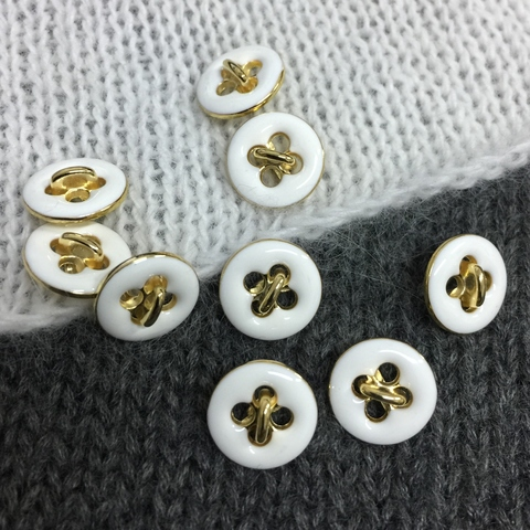 Пуговица сток Max Mara металл 12 мм золото с белым