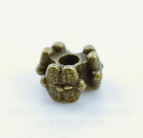 """Бусина металлическая """"Три цветка"""" 7х4 мм (цвет - античная бронза), 10 штук"""
