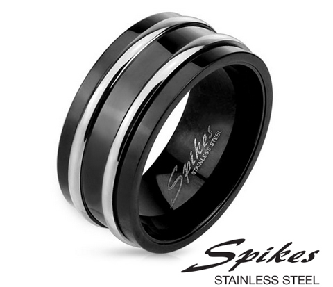 Широкое черное мужское кольцо «Spikes» из ювелирной стали