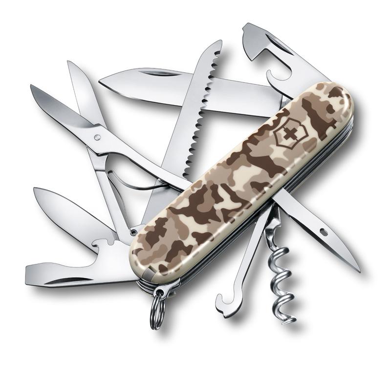 Нож Victorinox Huntsman, 91 мм, 15 функций, бежевый камуфляжный