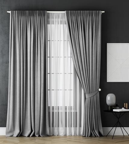 Комплект штор и тюль Грета серый