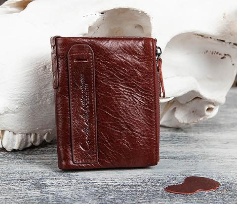 Красный мужской кошелек из натуральной кожи