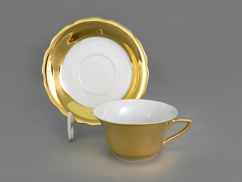 Чашка низкая с блюдцем 0,15 л Виндзор Leander глянцевое золото/белый
