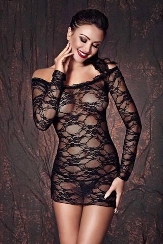 Сорочка черная кружевная короткая эротичная сексуальная красивая польская по фигуре с открытыми плечами